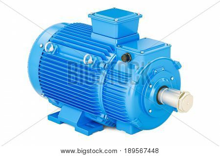 Blue industrial electric motor 3D rendering isolated on white background