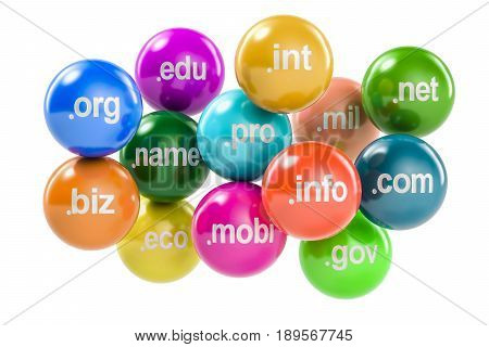 Set of colored balls with domain names 3D rendering