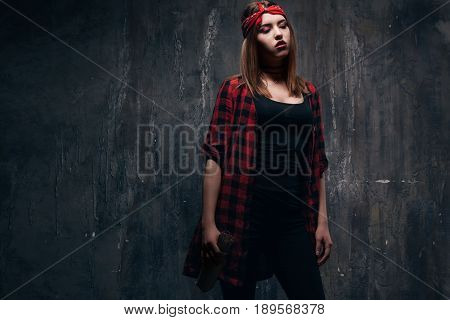 Drunk woman alcoholic addiction problem, . Tired addicted caucasian girl holding alcohol bottle, she sad and depressed.