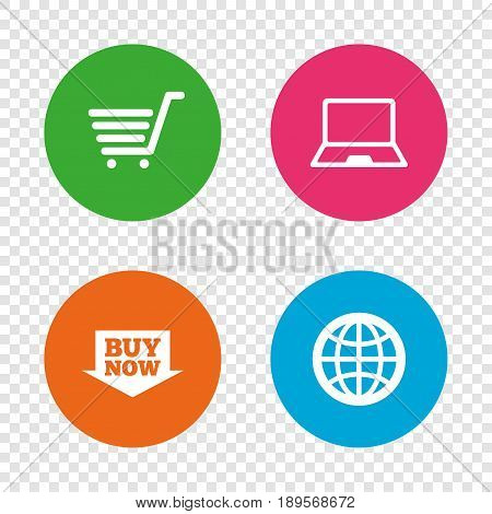 Online shopping icons. Notebook pc, shopping cart, buy now arrow and internet signs. WWW globe symbol. Round buttons on transparent background. Vector