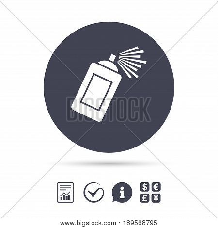 Graffiti spray can sign icon. Aerosol paint symbol. Report document, information and check tick icons. Currency exchange. Vector