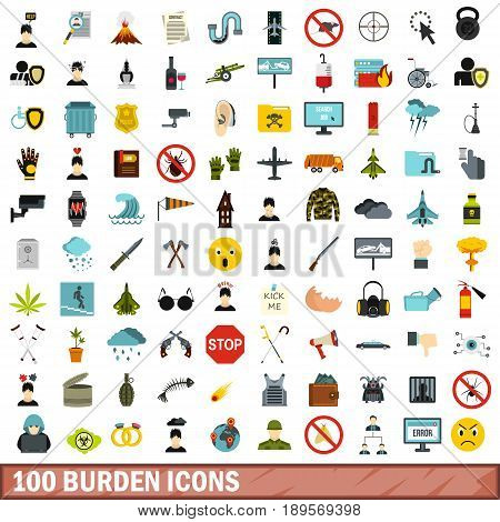 100 burden icons set in flat style for any design vector illustration