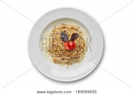 Pasta with veal and porcini mushrooms on a white background isolation