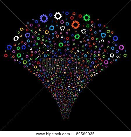 Cog salute stream. Vector illustration style is flat bright multicolored iconic symbols on a black background. Object fireworks fountain combined from random icons.