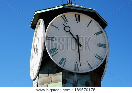 Clock Tower at Aker Brygge in Oslo Norway