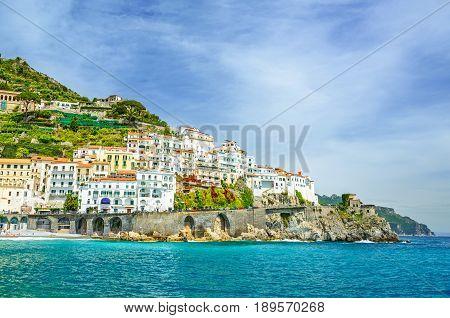 beautiful view of Amalfi town on Amalfi coast Campania Italy