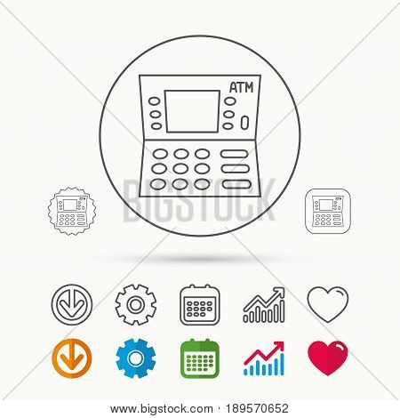 ATM icon. Automatic cash withdrawal sign. Calendar, Graph chart and Cogwheel signs. Download and Heart love linear web icons. Vector
