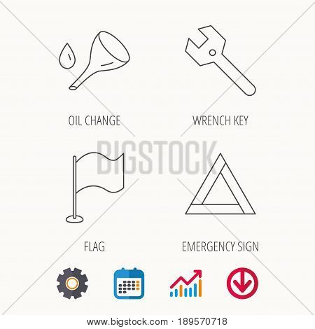 Flag pointer, emergency sign and wrench key icons. Emergency triangle, oil change linear signs. Calendar, Graph chart and Cogwheel signs. Download colored web icon. Vector