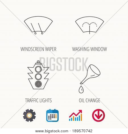 Motor oil change, traffic lights and wiper icons. Washing window, windscreen wiper linear signs. Calendar, Graph chart and Cogwheel signs. Download colored web icon. Vector