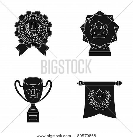 An Olympic medal for the first place, a crystal ball, a gold cup on a stand, a red pendant.Awards and trophies set collection icons in black style vector symbol stock illustration .