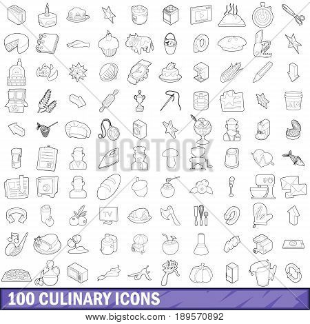 100 culinary icons set in outline style for any design vector illustration