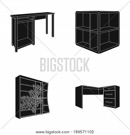 Dressing table, corner shelves, computer desk, wardrobe with glass. Bedroom furniture set collection icons in black style vector symbol stock illustration .
