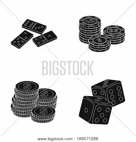 Domino bones, stack of chips, a pile of mont, playing blocks. Casino and gambling set collection icons in black style vector symbol stock illustration .