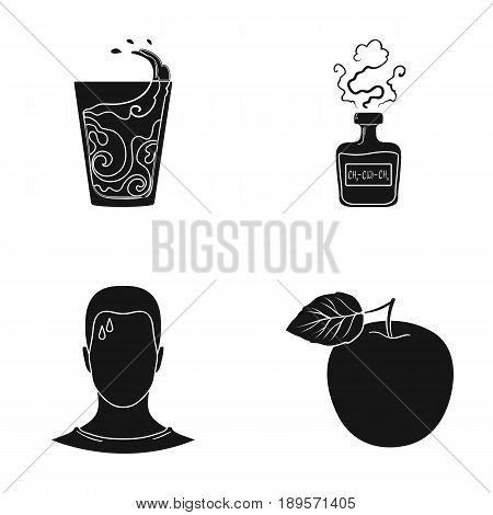 A glass of water, a bottle of alcohol, a sweating man, an apple. Diabeth set collection icons in black style vector symbol stock illustration .