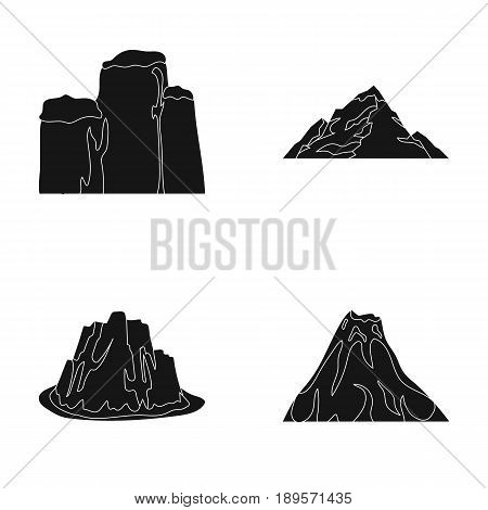 Sheer cliffs, a volcanic eruption, a mountain with a beach, a glacier. Different mountains set collection icons in black style vector symbol stock illustration .