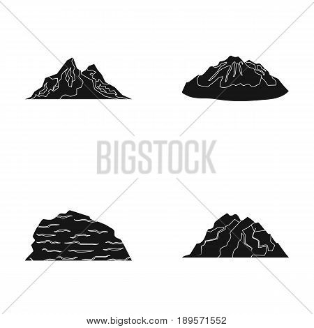 Mountains in the desert, a snowy peak, an island with a glacier, a snow-capped mountain. Different mountains set collection icons in black style vector symbol stock illustration .
