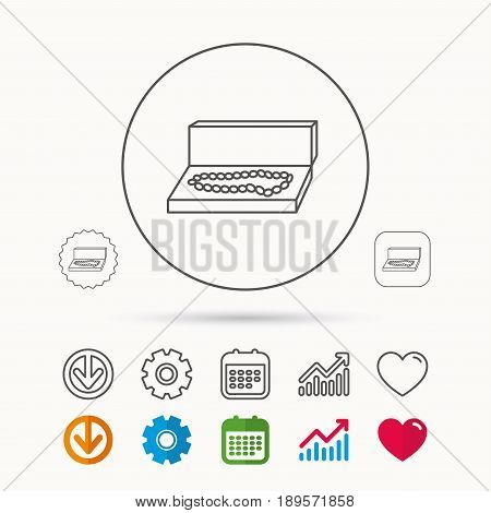 Jewellery box icon. Luxury precious sign. Calendar, Graph chart and Cogwheel signs. Download and Heart love linear web icons. Vector