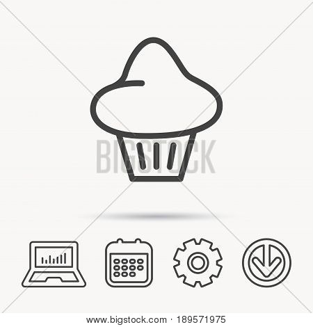 Brioche icon. Bread bun sign. Bakery symbol. Notebook, Calendar and Cogwheel signs. Download arrow web icon. Vector