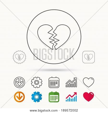 Broken heart icon. Divorce sign. End of love symbol. Calendar, Graph chart and Cogwheel signs. Download and Heart love linear web icons. Vector