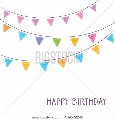 Vintage vector happy birthday card party bunting flags