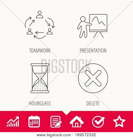 Teamwork, presentation and hourglass icons. Delete or remove linear sign. Edit document, Calendar and Graph chart signs. Star, Check and House web icons. Vector