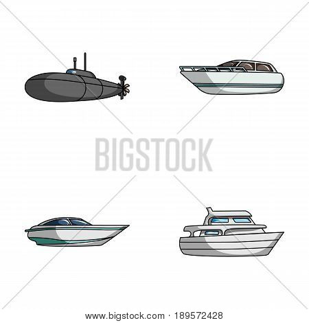 A military submarine, a speedboat, a pleasure boat and a spirit boat.Ships and water transport set collection icons in cartoon style vector symbol stock illustration .