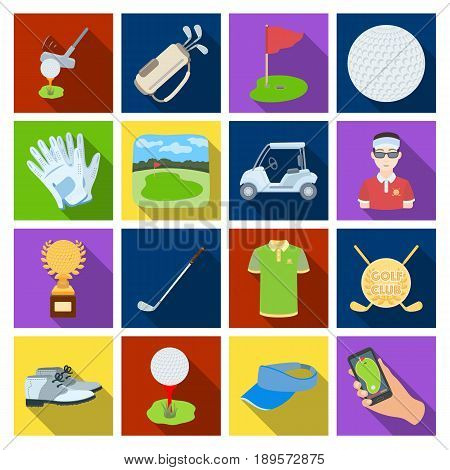 A golfer, a ball, a club and other golf attributes.Golf club set collection icons in flat1 style vector symbol stock illustration .