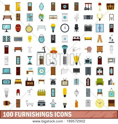 100 furnishings icons set in flat style for any design vector illustration