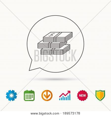 Cash icon. Dollar money sign. USD currency symbol. 3 wads of money. Calendar, Graph chart and Cogwheel signs. Download and Shield web icons. Vector