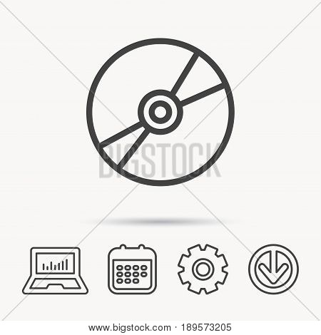 CD or DVD icon. Multimedia sign. Notebook, Calendar and Cogwheel signs. Download arrow web icon. Vector