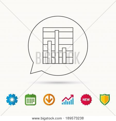 Chart icon. Graph diagram sign. Demand reduction symbol. Calendar, Graph chart and Cogwheel signs. Download and Shield web icons. Vector