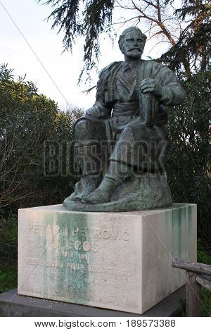 Statue of Petar II Petrovic-Njegos in park Borghese, Rome poster