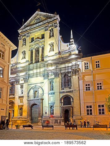The Evening View Of Garrison Church In Lvov