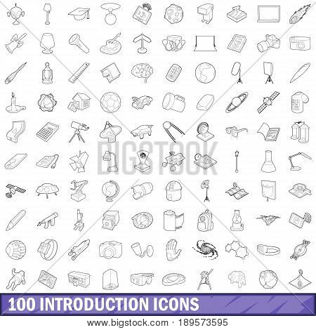 100 introduction icons set in outline style for any design vector illustration