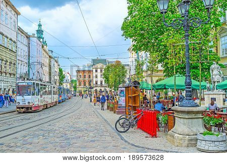 The Tram In Market Square Of Lvov