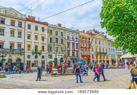The Statues On Market Square Of Lvov