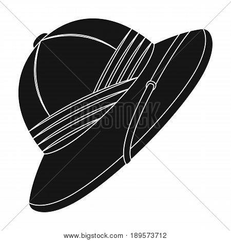 Cork hat from the sun.African safari single icon in black style vector symbol stock illustration .