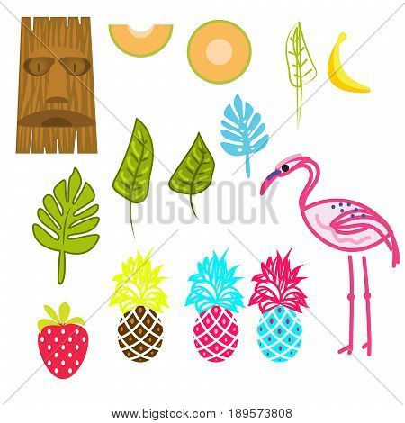 Hawaii aloha clip art vector set. Tiki mask, pink flamingo, palm leaves and tropical summer fruits.