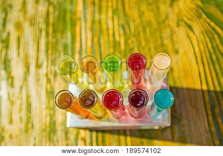 Alcohol Spirits In Test Tubes