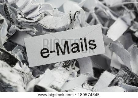 shredded paper keywords emails