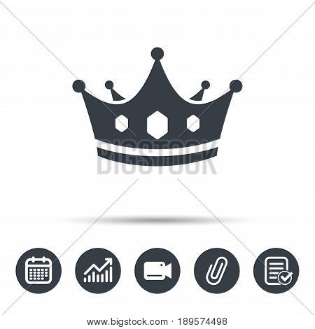 Crown icon. Royal throne leader symbol. Calendar, chart and checklist signs. Video camera and attach clip web icons. Vector