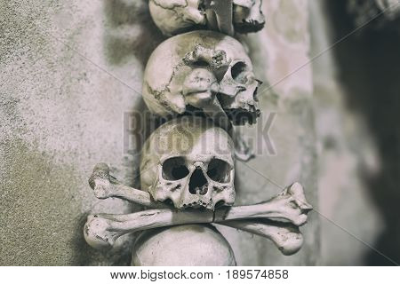 Ancient human skull and bone decoration in Sedlec, Czech republic. Kutna Hora.