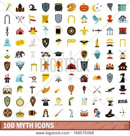 100 myth icons set in flat style for any design vector illustration