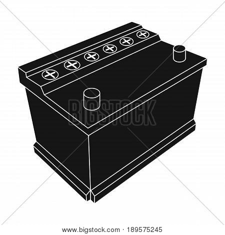 For automobile battery.Car single icon in black style vector symbol stock illustration .