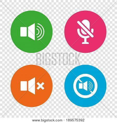 Player control icons. Sound, microphone and mute speaker signs. No sound symbol. Round buttons on transparent background. Vector