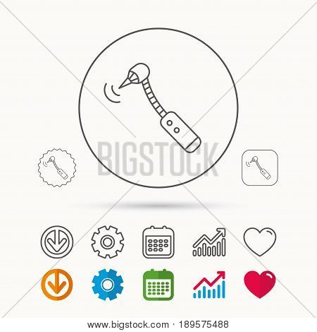 Drilling tool icon. Dental oral bur sign. Calendar, Graph chart and Cogwheel signs. Download and Heart love linear web icons. Vector