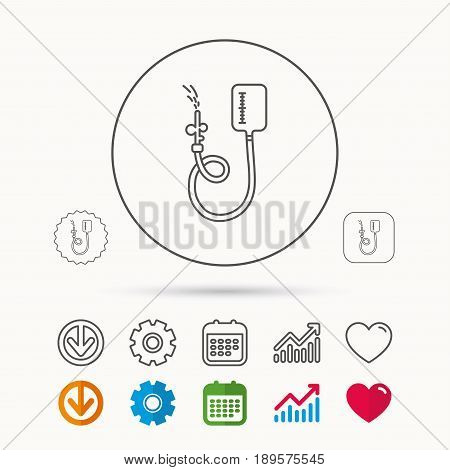 Drop counter icon. Medical procedure sign. Calendar, Graph chart and Cogwheel signs. Download and Heart love linear web icons. Vector