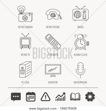 Retro camera, radio and phone call icons. Monitor, PC case and microphone linear signs. TV remote, alarm clock icons. Education book, Graph chart and Chat signs. Vector
