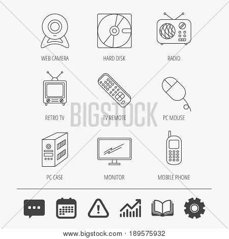 Web camera, radio and mobile phone icons. Monitor, PC case and TV remote linear signs. Hard disk and PC mouse icons. Education book, Graph chart and Chat signs. Vector