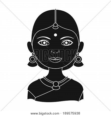 Hindu woman.Human race single icon in black style vector symbol stock illustration .